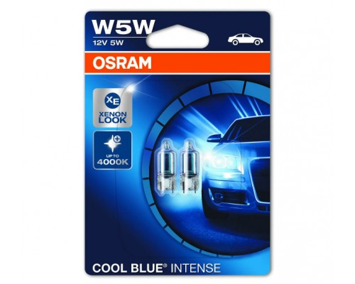 Лампа розжарювання 12V W5W 5W W2,1X9,5D COOL BLUE INTENSE ЯРКОСТЬ +20% ефект КСЕНОНА, БЛИСТЕР (2ШТ)