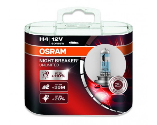ЛАМПА ГАЛОГЕННАЯ 12V H1 55W P14.5S NIGHT BREAKER LASER NEXT GENERATION НА 150% БОЛЬШЕ СВЕТА, ДО 150М ДЛИНЕЕ СВЕТОВОЙ ЛУЧ, DUOBOX (2ШТ)