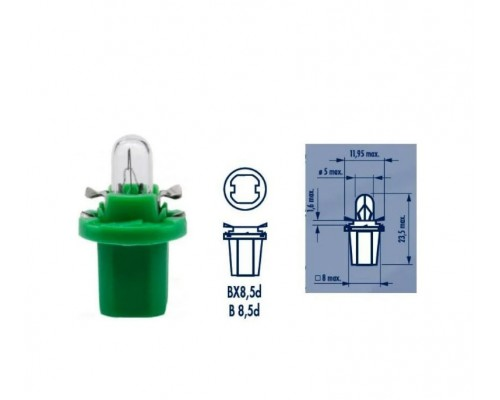 ЛАМПА НАКАЛИВАНИЯ 12V BAX 2W B8,5D(BAX10D) LIGHT GREE