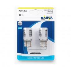 Лампа світлодіодна 12V 2.7W W21/5 W3X16D LED,RANGE POWER LED червоний БЛИСТЕР (2ШТ)