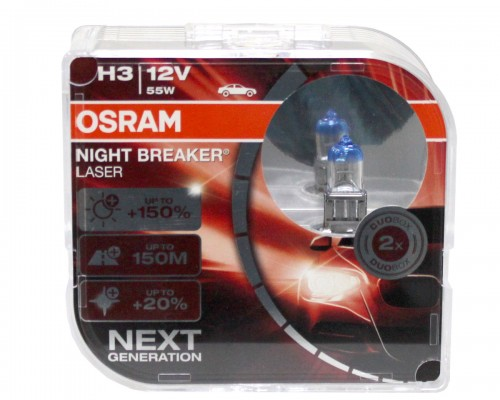 ЛАМПА ГАЛОГЕННАЯ 12V H3 55W PK22S NIGHT BREAKER LASER NEXT GENERATION НА 150% БОЛЬШЕ СВЕТА, ДО 150М ДЛИНЕЕ СВЕТОВОЙ ЛУЧ, DUOBOX (2ШТ)