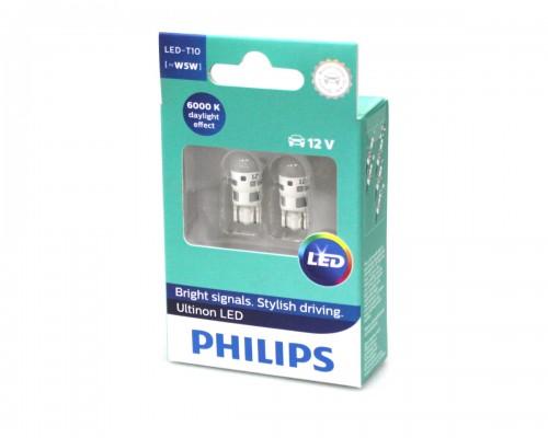 Лампа світлодіодна 12V T10 LED 0,6W W5W W2,1X9,5D LED ULTINON 6000K (2ШТ В БЛИСТ.)