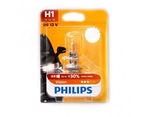 Лампа галогенна 12V H1 55W P14,5S VISION, На 30% більше світла (1ШТ В БЛИСТ.)