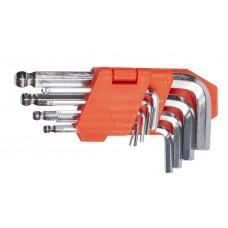Набір ключів шестигранних L-образних з кульовим закінченням 9 шт., 1.5-10 мм, стандартної довжини LA 511604