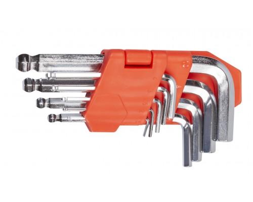 Набор ключей шестигранных L-образных с шаровым окончанием 9 шт., 1.5-10 мм, стандартной длины LA 511604