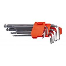 Набор ключей шестигранных L-образных с шаровым окончанием 9 шт., 1.5-10 мм, удлиненных LA 511605