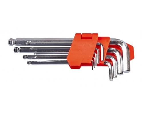 Набір ключів шестигранних L-образних з кульовим закінченням 9 шт., 1.5-10 мм, подовжених LA 511605