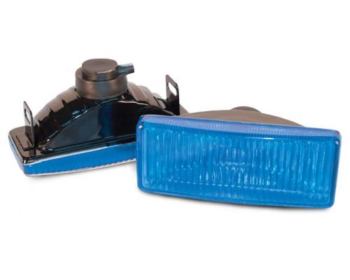 Фара 125x45 мм, галогенова, скло блакитне, 2 шт. LA HY-010C / B