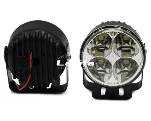 Фара дневного света D=70 мм, алюминиевая, LED, 2 шт. LA HY-092-1
