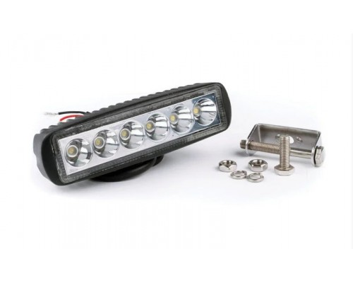 Фара денного світла, LED, 6X3W, IP67, АЛЮМІНІЄВИЙ КОРПУС, 180Х70Х47,5ММ, 120M, 1350LM, 1 ШТ, 30 ШТ. / УП.